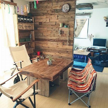 木箱×天板で収納付きテーブルに