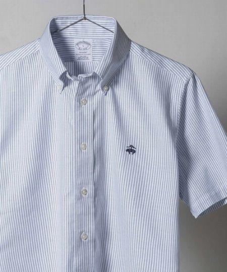 『ブルックスブラザーズ』ストレッチコットン ストライプ ショートスリーブ カジュアルシャツ