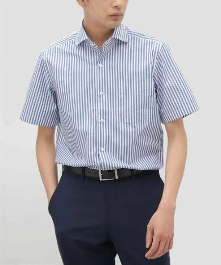 『パーフェクトスーツファクトリー』半袖アイシャツ ボタンダウン ストライプ