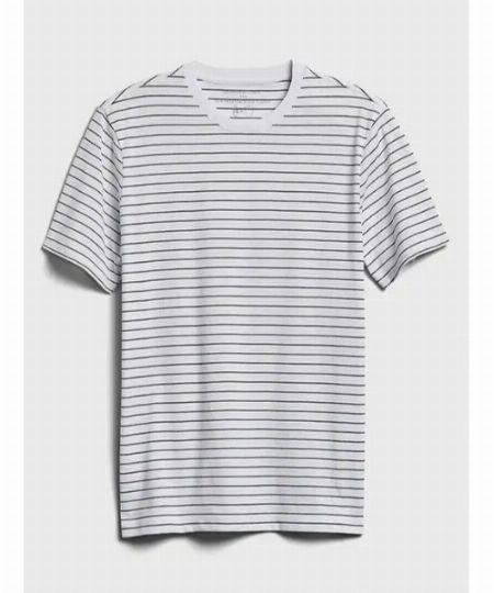 エコプレミアムウォッシュストライプクルーネックTシャツ