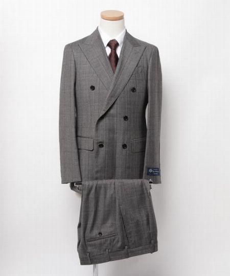 『エストネーション』ロロピアーナレインシステム グレンチェックダブル6釦スーツ