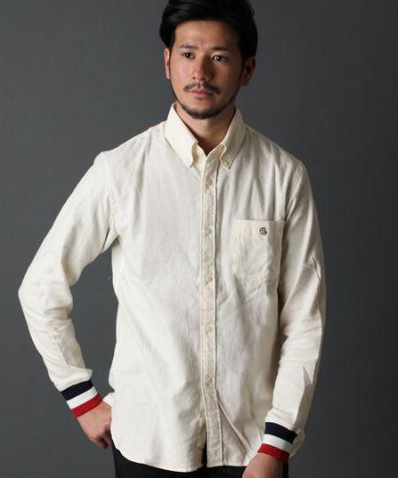 トリコロールリブ袖 カジュアルシャツ