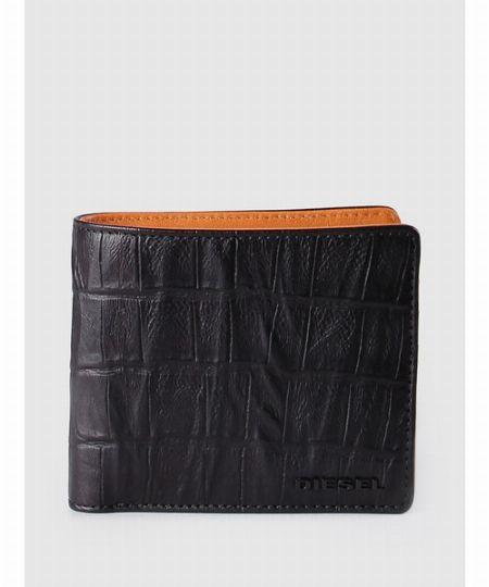 メンズ 財布 二つ折り 型押しクロコウォレット