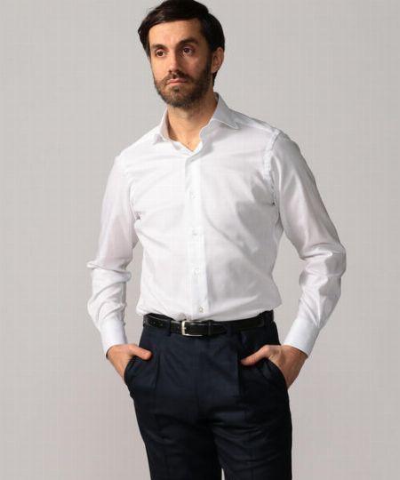 『トゥモローランド』120/2 コットンロイヤルオックスフォード ワイドカラー ドレスシャツ