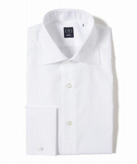 『ビームスF』ブロード ダブルカフス ワイドカラーシャツ