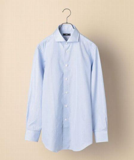 『シップス』ヘアラインストライプ ライトブルー ホリゾンタルカラー シャツ