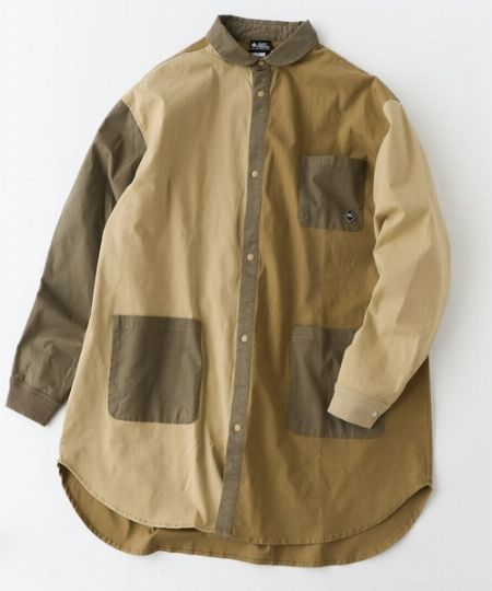 ストレッチヘリンボーンロング シャツジャケット