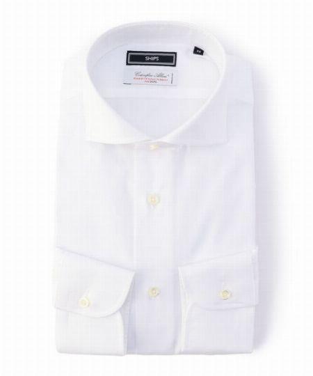 『シップス』アルビニ オックスフォード ソリッド ホリゾンタルカラー シャツ