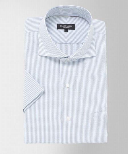 『ブラックレーベル クレストブリッジ』ストライプサッカーハーフスリーブホリゾンタルカラーシャツ