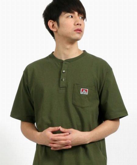 無地ポケット付ヘンリーネック半袖Tシャツ