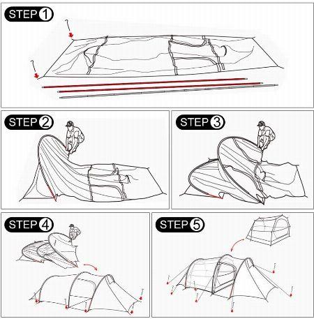 カマボコ型テントは「簡単!」