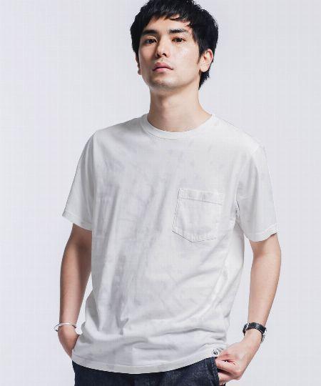 『ナンバーナイン』タイダイ & ブリーチ ボックスロゴプリント クルーネック Tシャツ