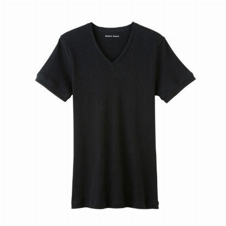 リブ編みのVネックTシャツ