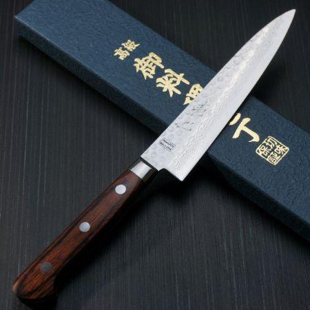 『一心刃物』V金10号槌目ダマスカス ペティナイフ 13.5cm