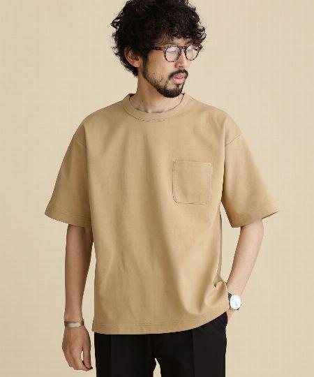 『ナノ・ユニバース』快適男 異素材ポケットTシャツ