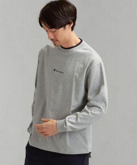 『チャンピオン』×『グリーンレーベル リラクシング』フェイクレイヤード ロゴ LS Tシャツ
