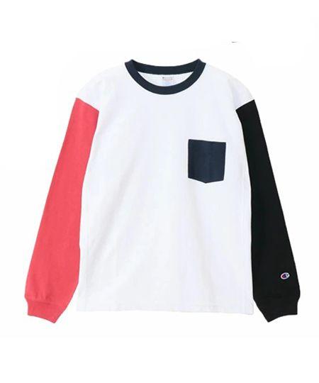 リバースウィーブロングスリーブTシャツ(カラーブロック)