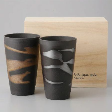 『金昇窯』金銀流し 泡立ちカップ ペア