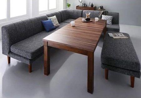 『アヌーク』高さ調整×伸長式 こたつテーブル+ソファ 5点セット