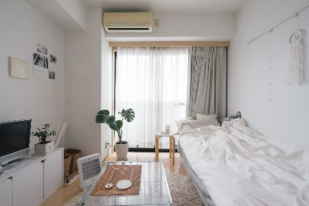 ワントーンでまとめたシンプルな部屋をグリーンで彩る