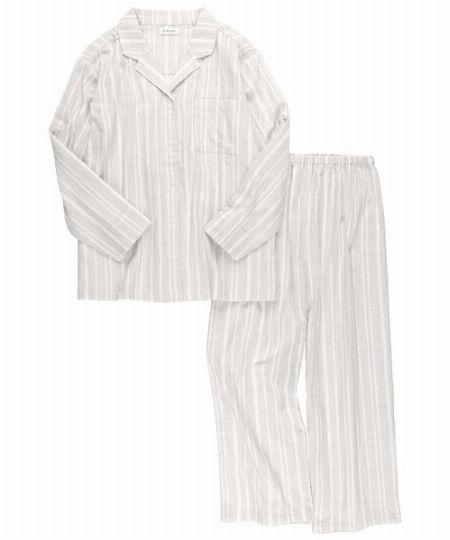『アンフィ』W'BASIC /綿100%ダブルガーゼ×ストライプ 前開きボタン パジャマ
