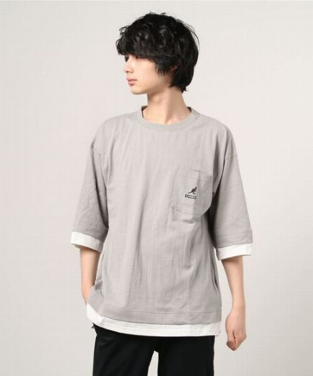 フェイクレイヤード 5分袖Tシャツ