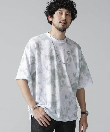 『ナノ・ユニバース』総柄ワッフルクルーネックビッグTシャツ