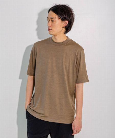 『エディフィス』モックネック ウォッシャブル ウールTシャツ