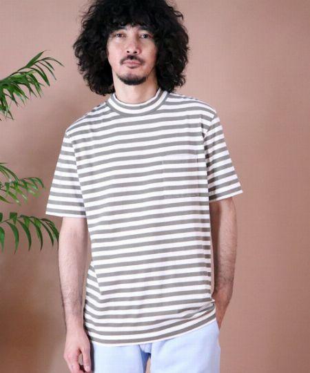 『ヘルスニット』ボーダーモックネック半袖Tシャツ