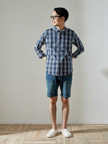 タータンチェックのシャツを使った上品なアメカジスタイル