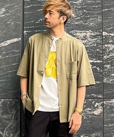 『ザ ショップ ティーケー』ハンドカラー半袖シャツ