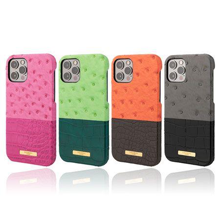 iPhone 12/12 Pro クロコ オーストリッチ バイカラー バックケース PUレザー
