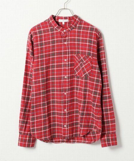 『メンズメルローズ』ストレッチネル ギンガムBDシャツ