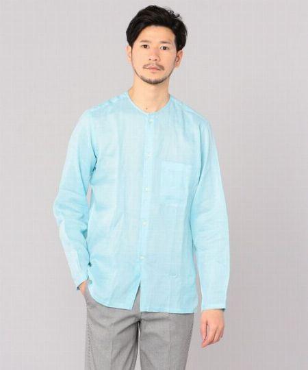 爽やかなノーカラーシャツが、春夏コーデに効くんです